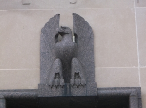Close-up of eagle above Post Office entrance, 2016