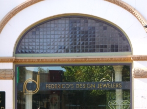 Federico's showing prismatic glass in front window