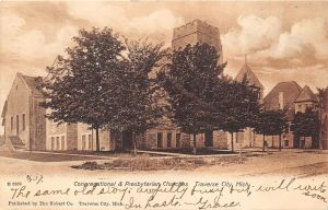 Postcard view of Congregational and Presbyterian churches